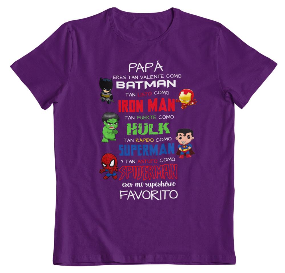 camiseta día del padre mi superhéroe favorito morado