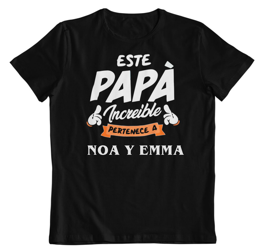 Camiseta personalizada para el día del padre negra
