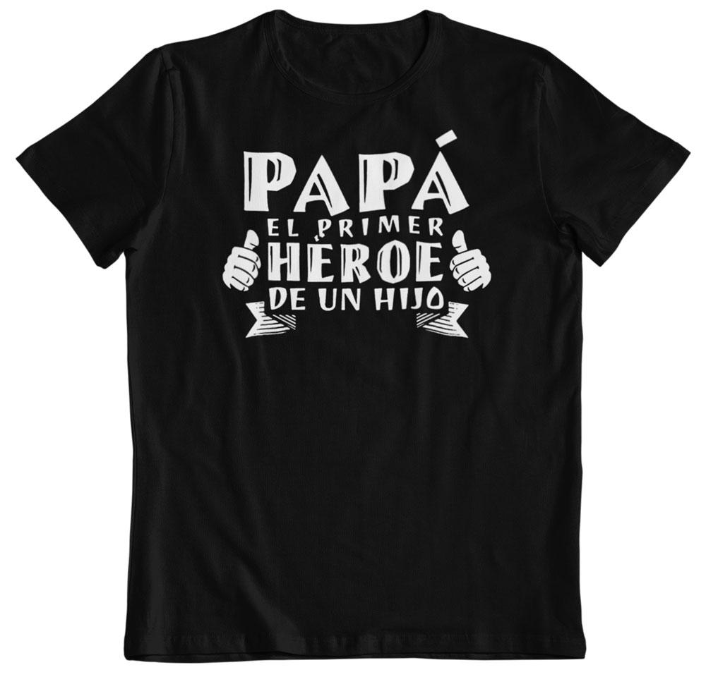 Camiseta por el día del padre primer héroe de un hijo negra
