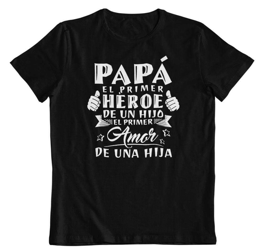 Camisetas por el día del padre primer héroe y amor negro